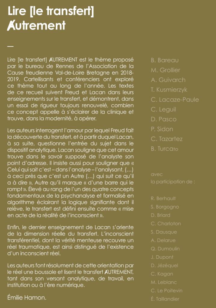 ENJEUX DE LA PHOBIE. Ecole freudienne - Collectif